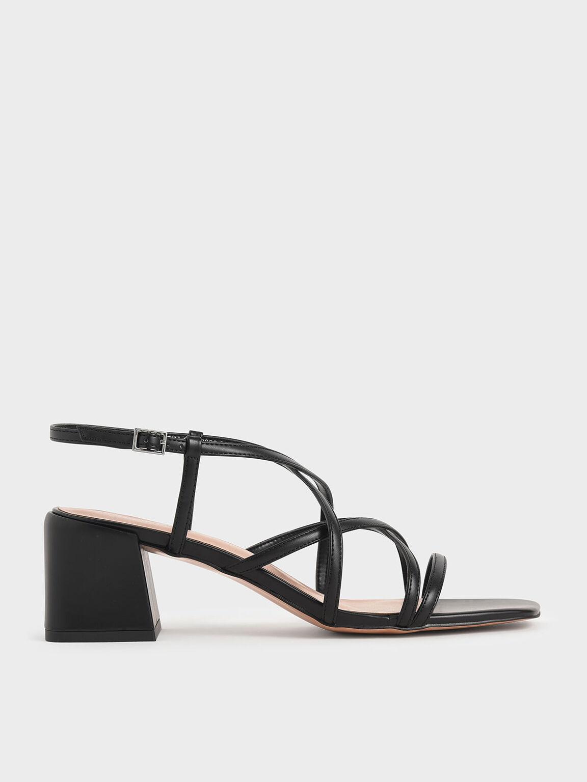 Criss-Cross Block Heel Sandals, Black, hi-res