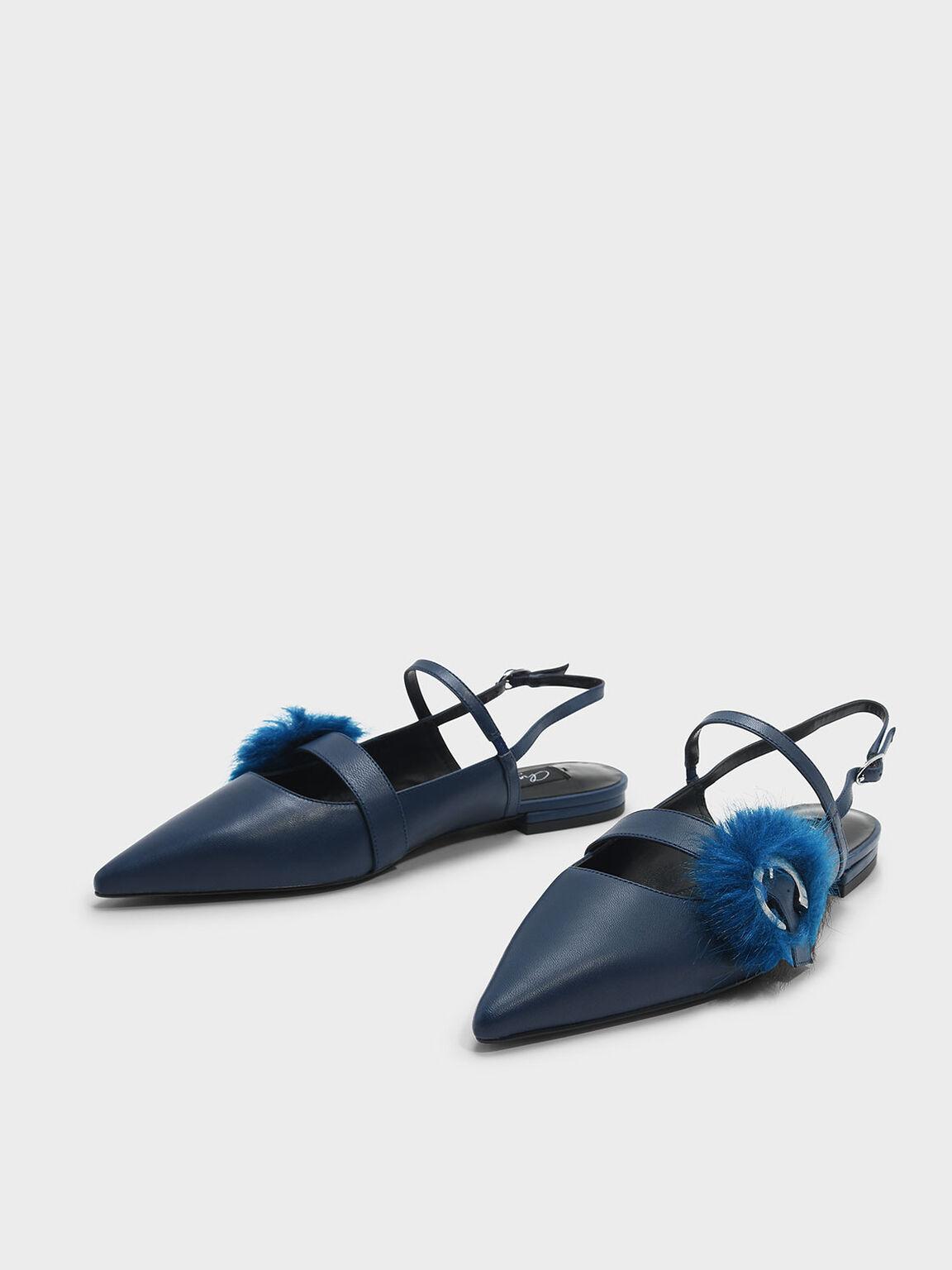 Furry Detail Buckle Leather Slingbacks, Dark Blue, hi-res