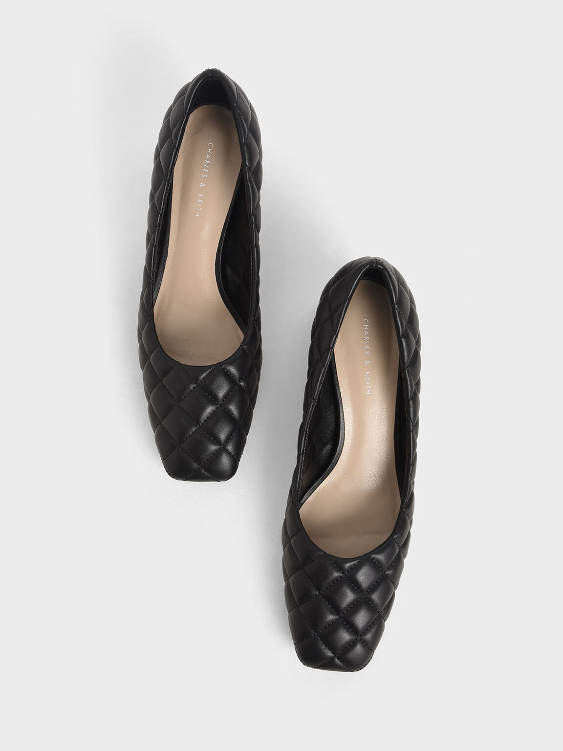 Quilted Pumps, Black, hi-res