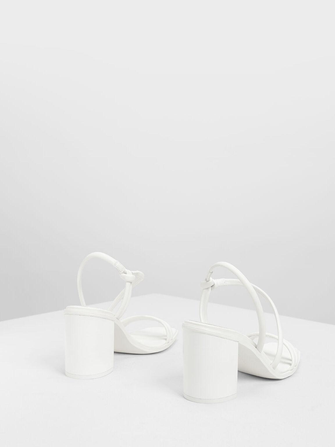 Asymmetrical Strappy Block Heels, White, hi-res