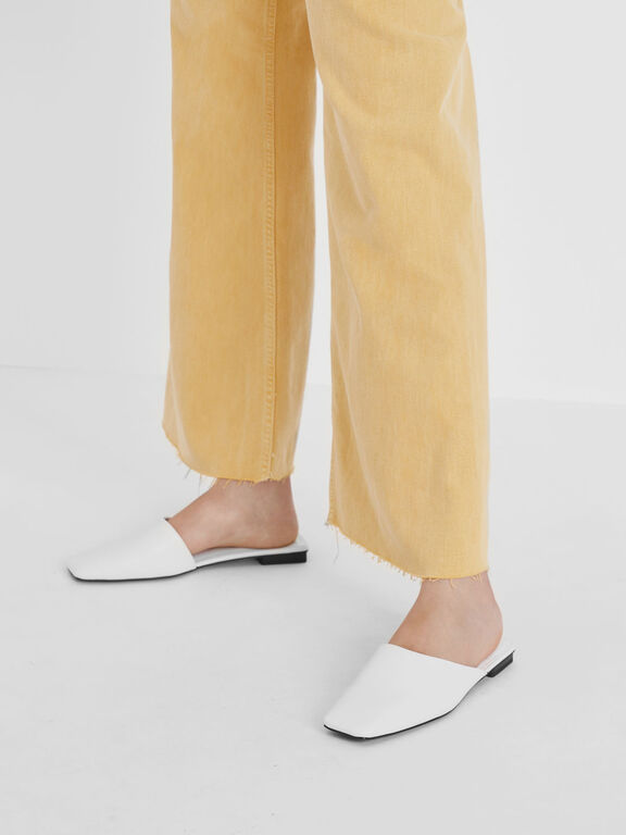 Square Toe Asymmetrical Mules, White, hi-res