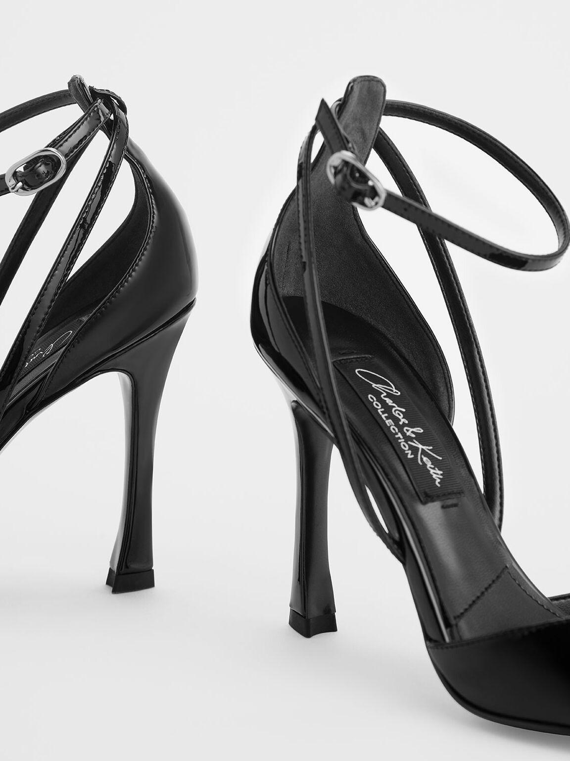 V-Cut Patent Leather Ankle Strap Heels, Black, hi-res