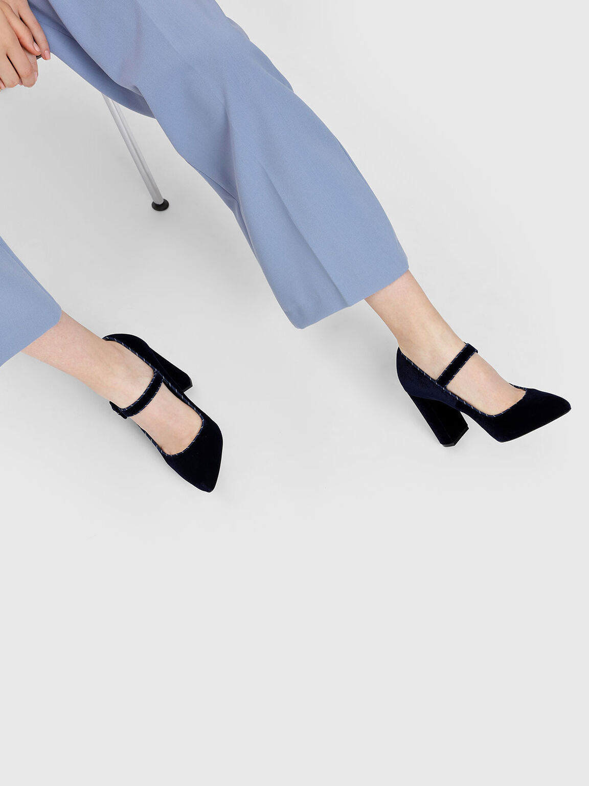Block Heel Mary Janes, Dark Blue, hi-res