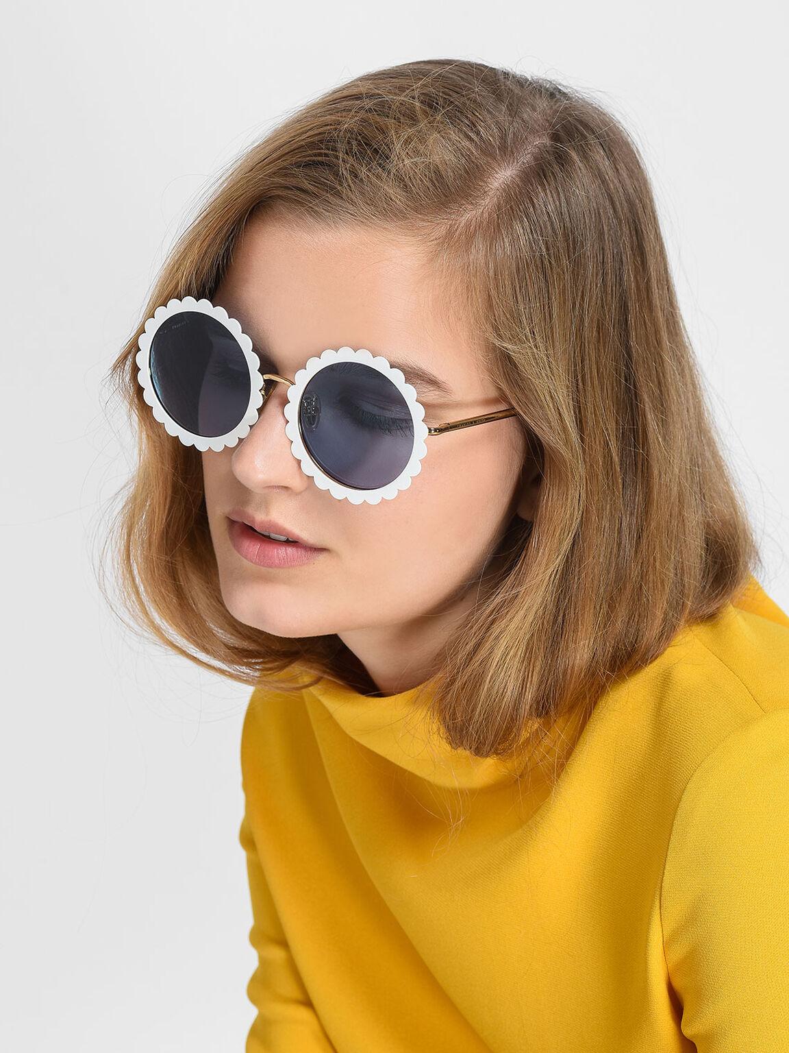 Round Flower Frame Sunglasses, White, hi-res