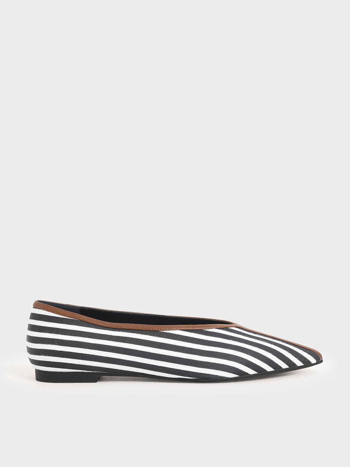 Jacquard Striped V-Cut Ballerina Flats, Dark Blue, hi-res