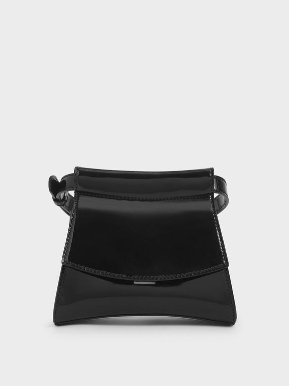 Patent Belt Bag, Black, hi-res
