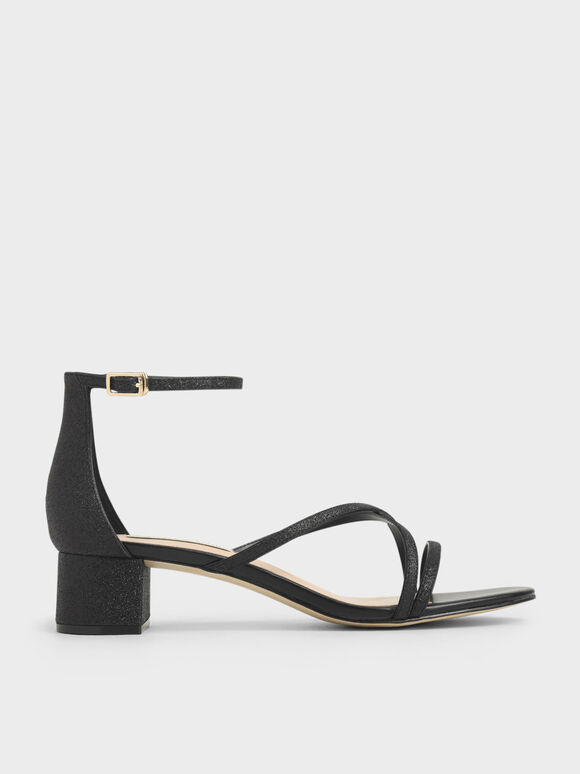 Glitter Strappy Heeled Sandals, Black Textured, hi-res