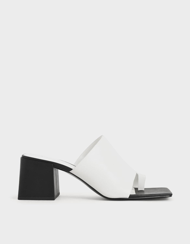 White Toe Loop Chunky Heel Mules