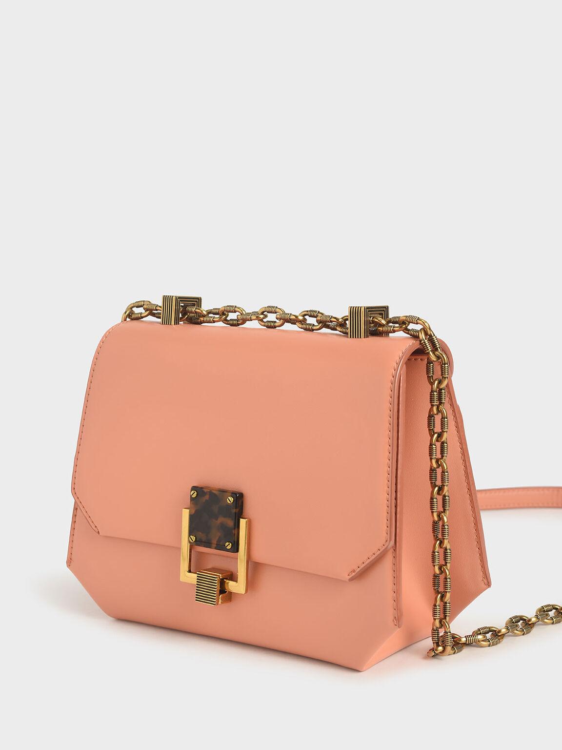 Chain Handle Geometric Crossbody Bag, Peach, hi-res