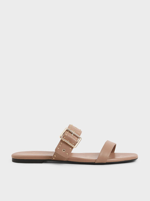 Studded Slide Sandals, Nude, hi-res