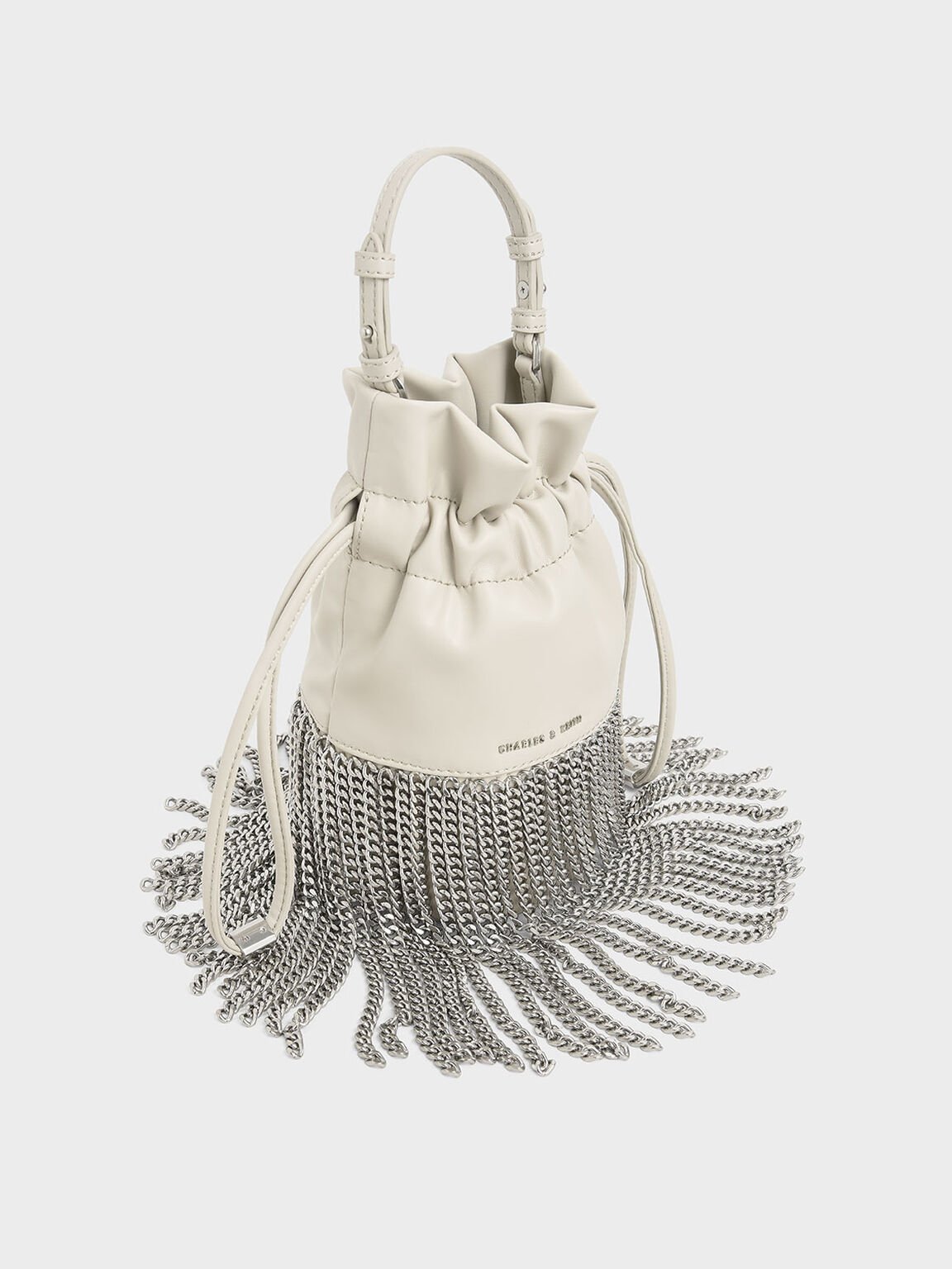 Chain Fringe Drawstring Bucket Bag, Cream, hi-res