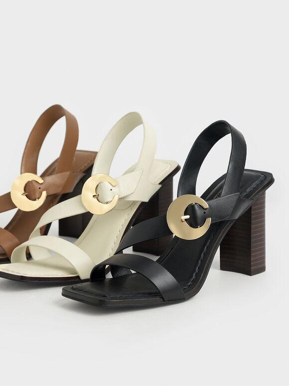 Leather Hammered Buckle Heeled Sandals, Chalk, hi-res