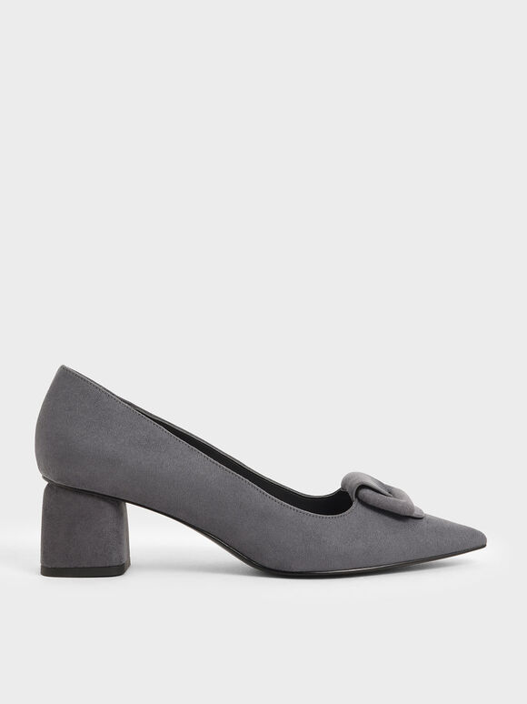 Front Buckle Textured Pumps, Dark Grey, hi-res