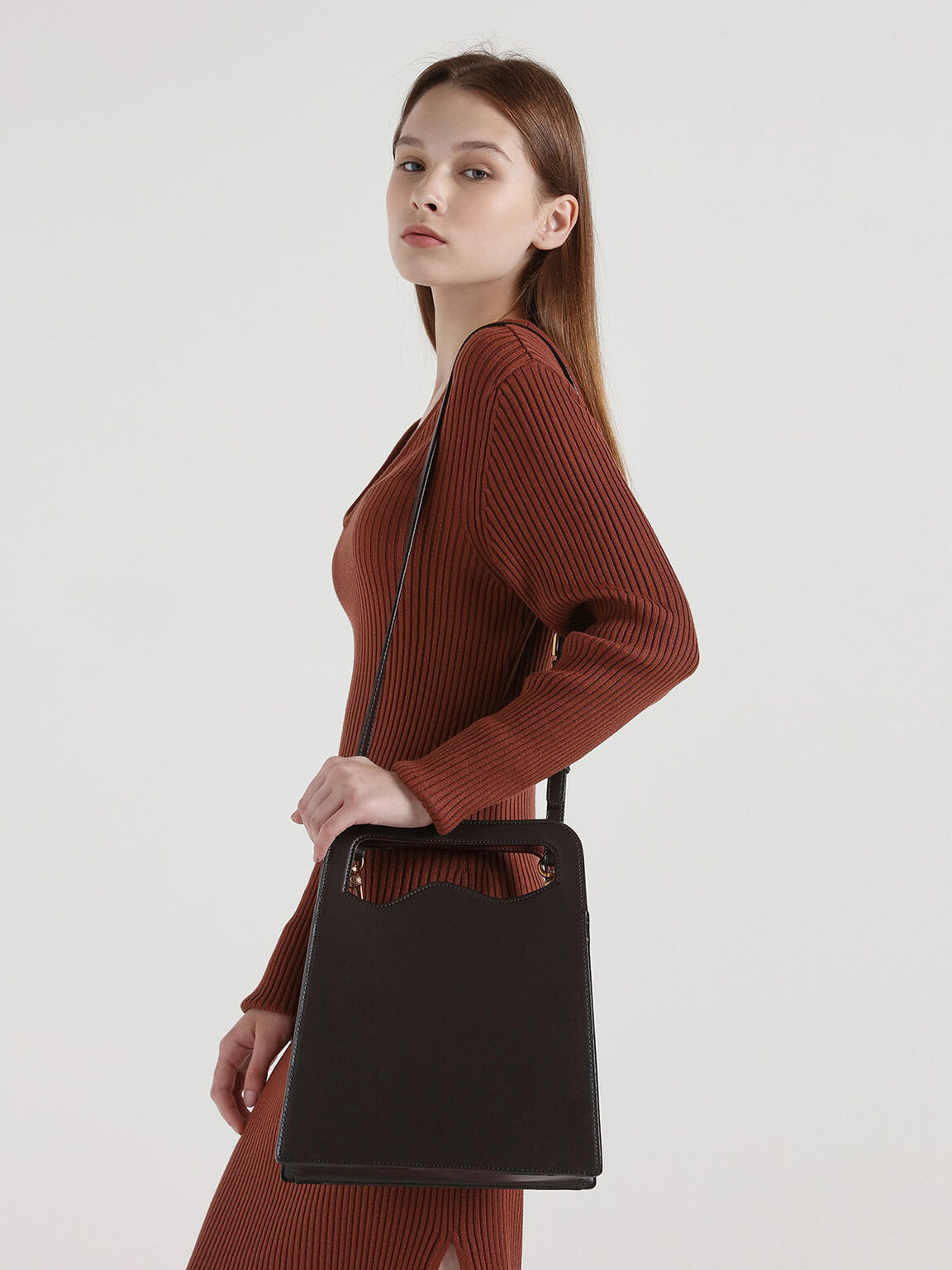 Asymmetric-Cut Top Handle Tote Bag, Dark Brown, hi-res