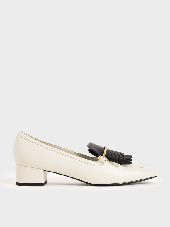Two-Tone Fringe Loafers, Chalk, hi-res