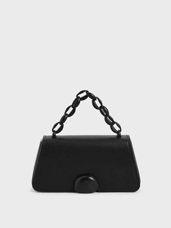 金屬鍊梯形手提包, 霧面黑, hi-res