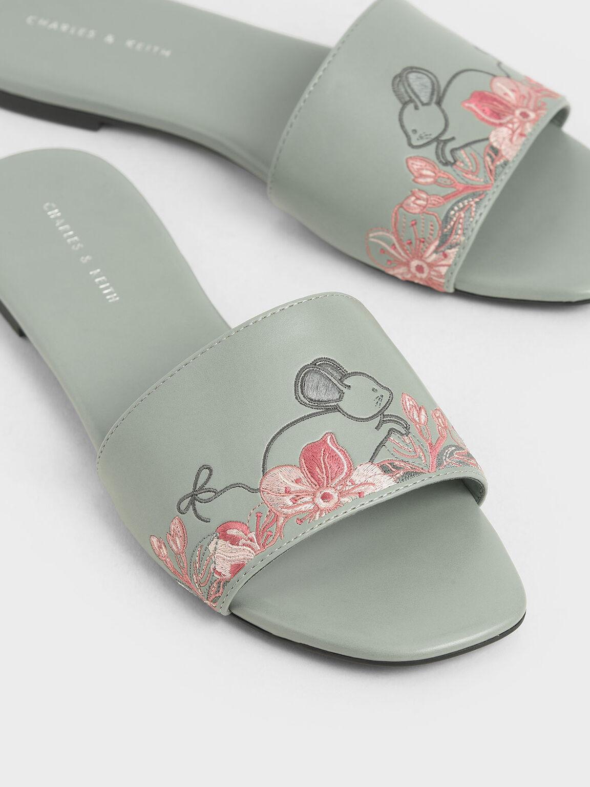 Embroidered Slide Sandals, Green, hi-res