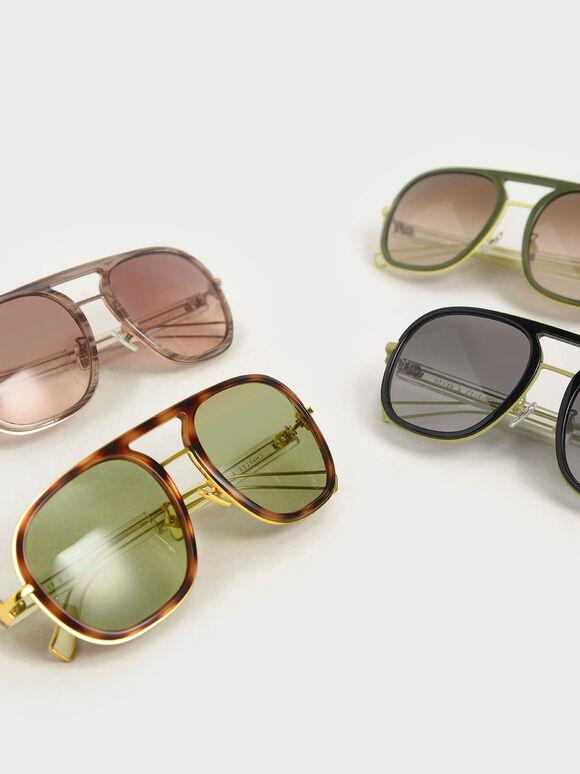 Double Bridge Sunglasses, Green, hi-res