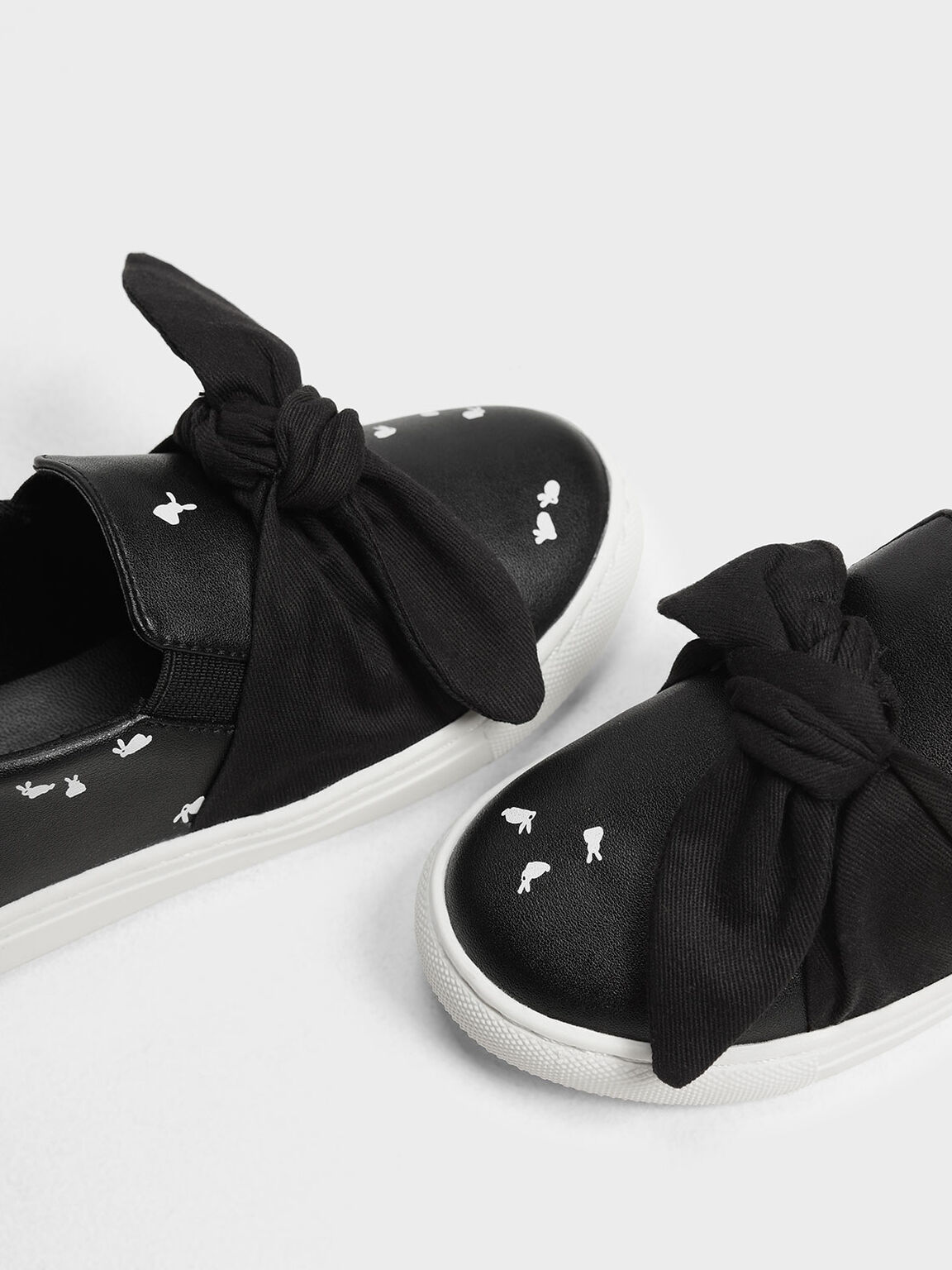 Kids' Bow Slip-On Sneakers, Black, hi-res