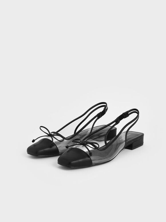 See-Through Bow Slingback Ballerinas, Black Textured, hi-res