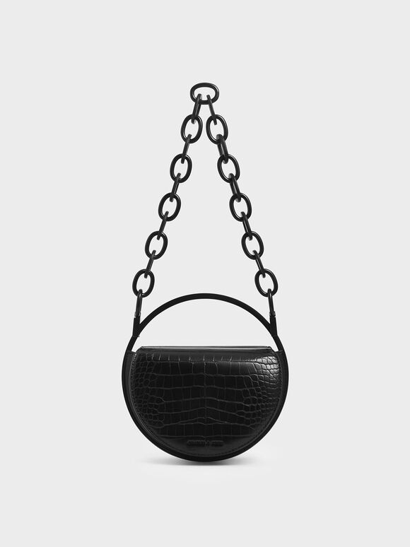 Croc-Effect Circle Clutch, Black, hi-res
