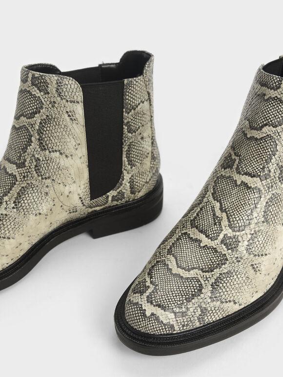 Snake Print Chelsea Boots, Grey, hi-res
