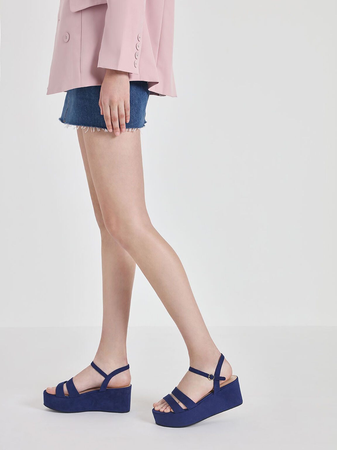 Double Strap Flatform Sandals, Dark Blue, hi-res