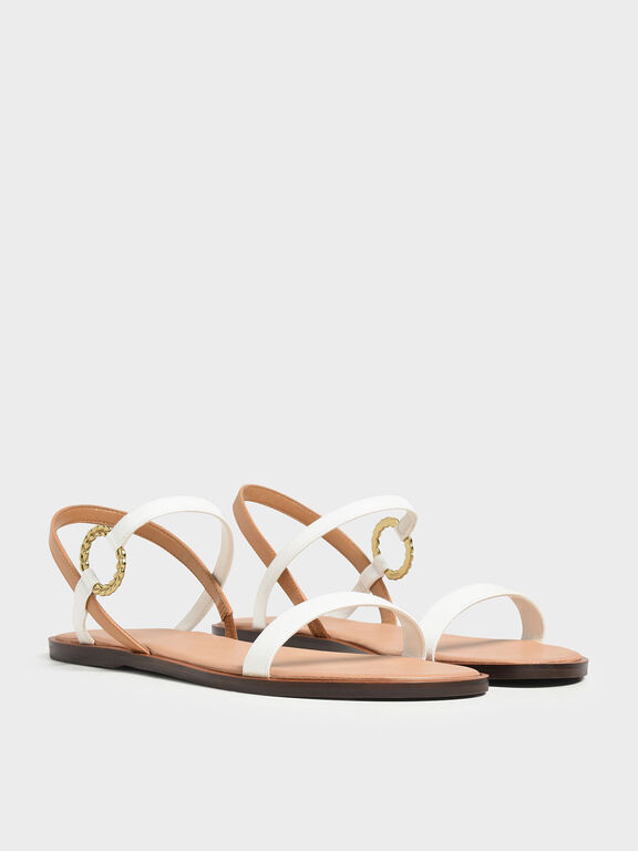 Gold Buckle Detail Sandals, White, hi-res