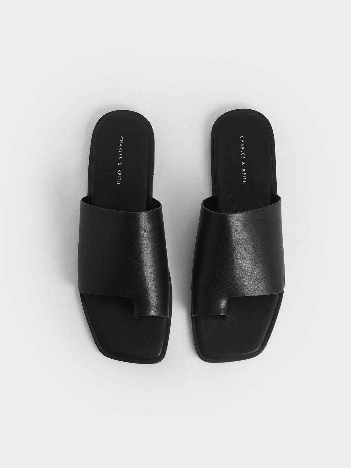 Toe Loop Slide Sandals, Black, hi-res