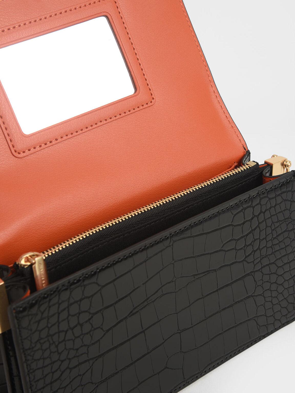 鱷魚紋手拿包, 黑色, hi-res