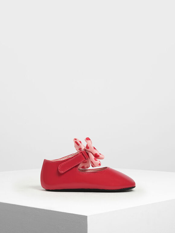 Kids' Heart Print Mary Janes, Red, hi-res