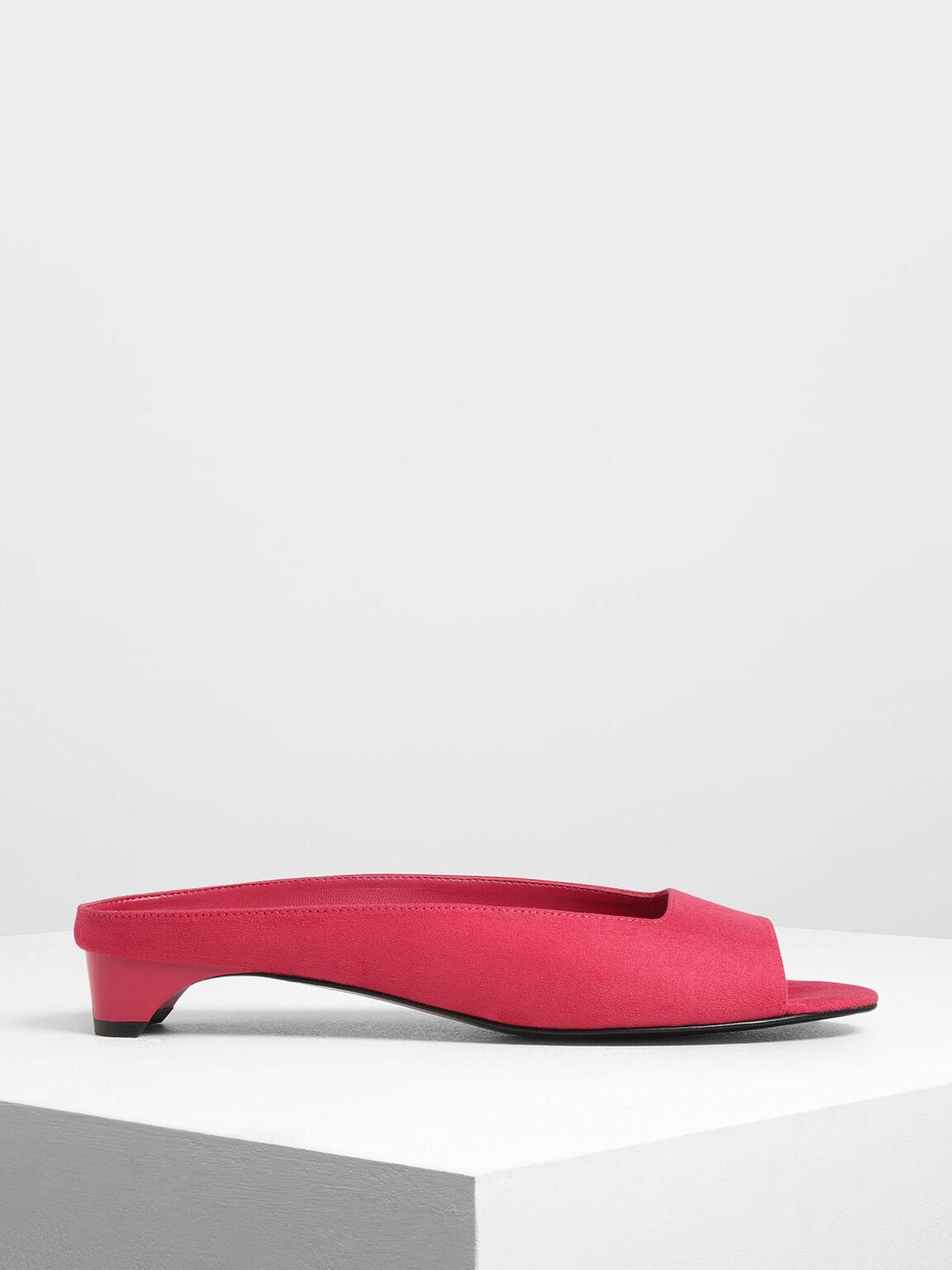 Geometric Cut Kitten Heel Slide Sandals, Red, hi-res