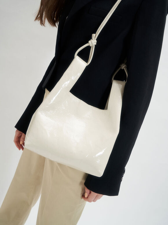 Patent Square Handle Tote Bag, Beige, hi-res