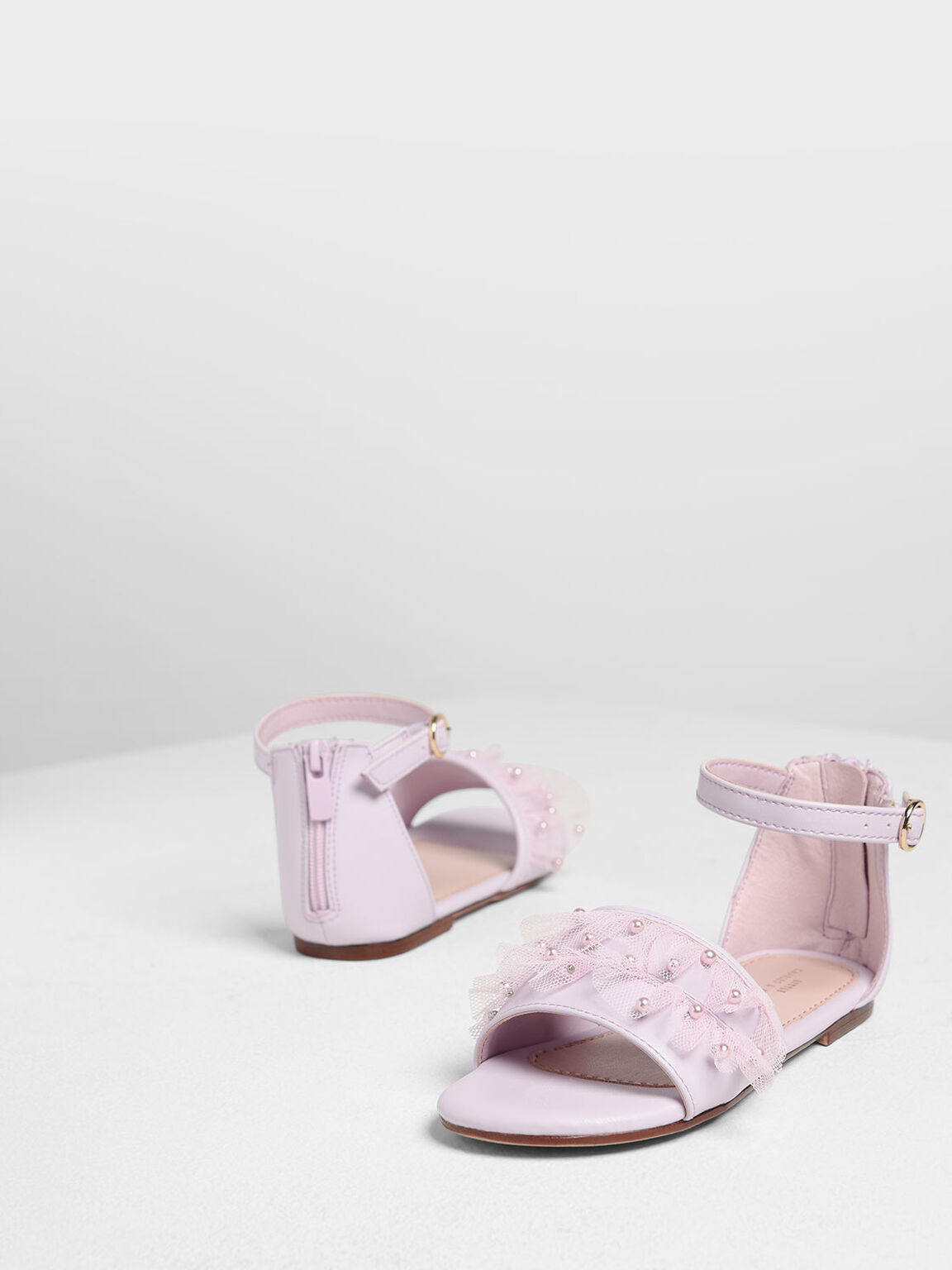 Kids' Lace & Beads Trimmed Sandals, Lilac, hi-res