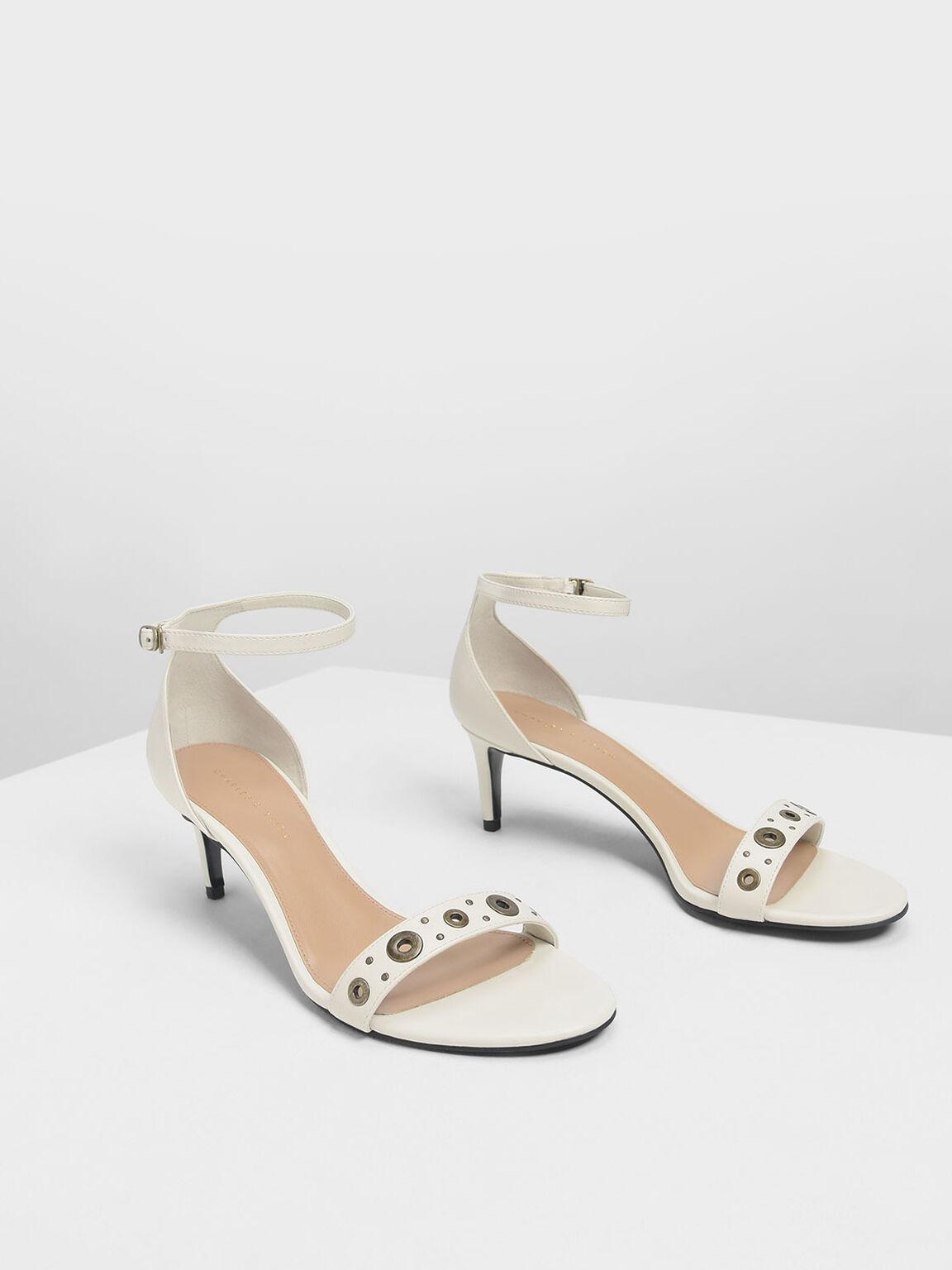 Grommet Detail Heeled Sandals, Cream, hi-res