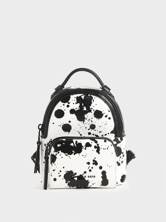Printed Double Zip Backpack, White, hi-res