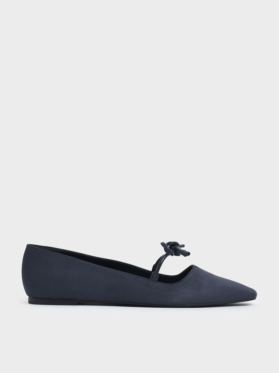 Textured Mini Square Toe Bow Strap Ballerina Flats, Dark Blue, hi-res