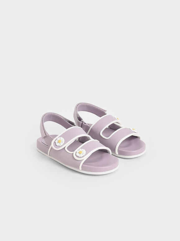 Girls' Flower-Embellished Platform Sandals, Lilac, hi-res