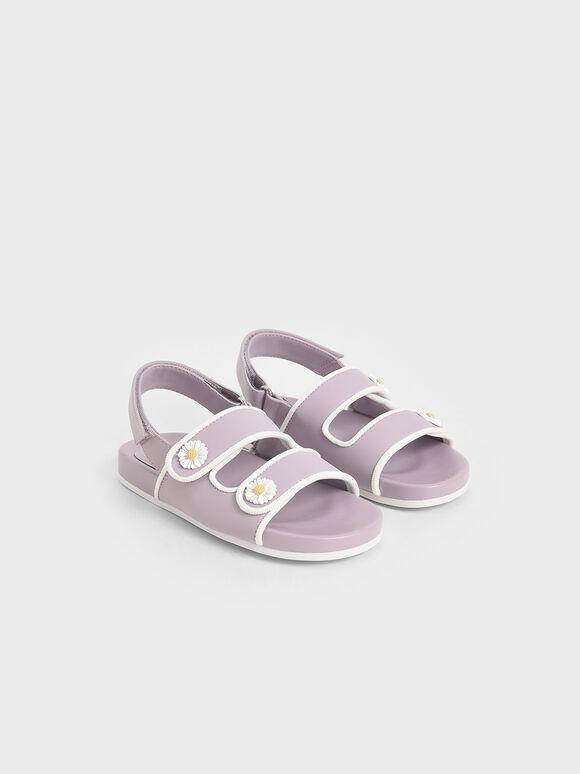兒童花朵雙帶涼鞋, 紫丁香色, hi-res