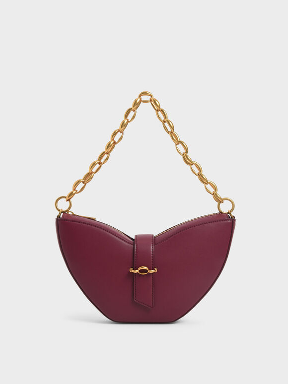 Chain Handle Sculptural Bag, Burgundy, hi-res