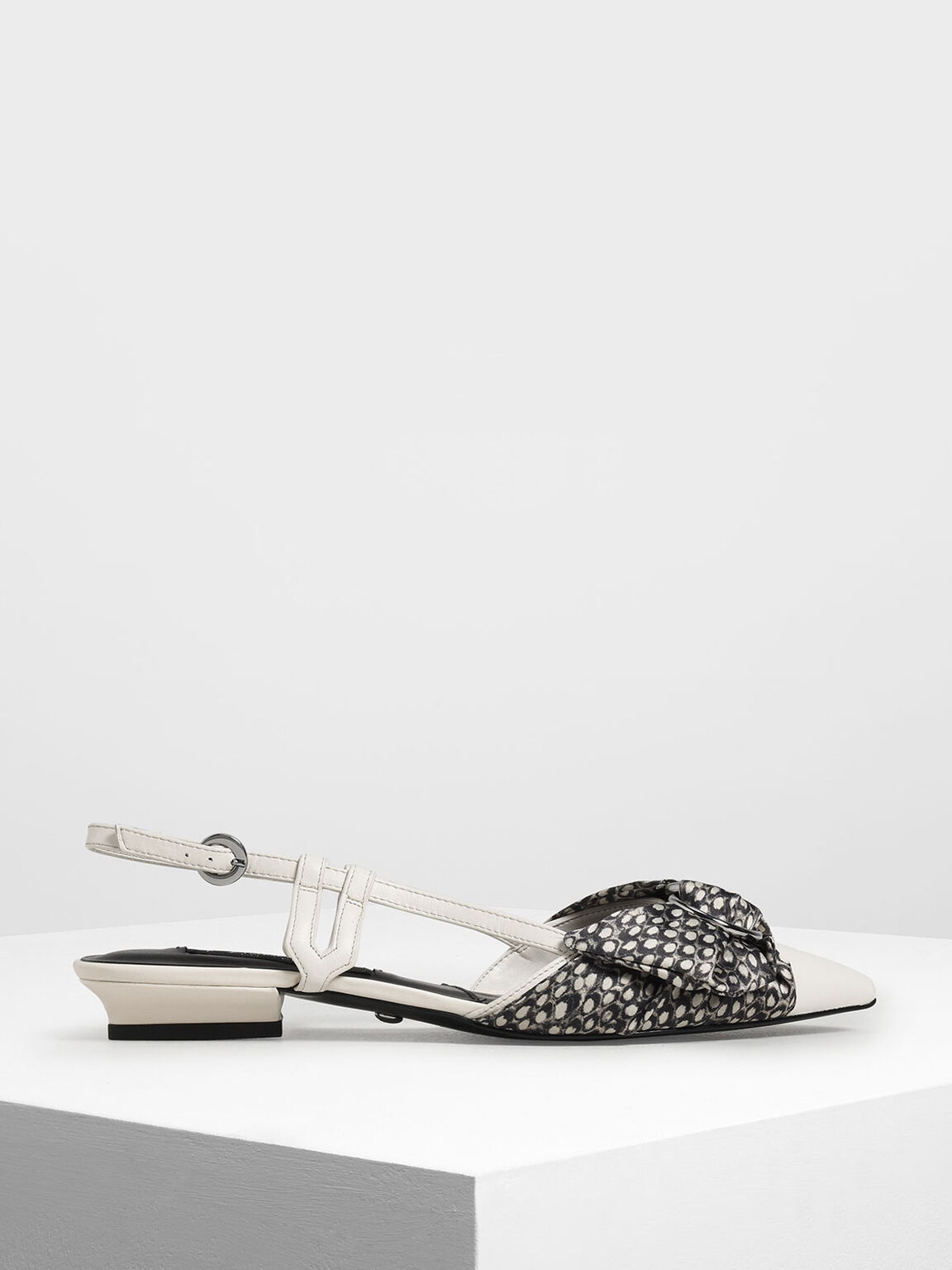 Ring Detail Snake Print Fabric Leather Slingback Flats, Cream, hi-res