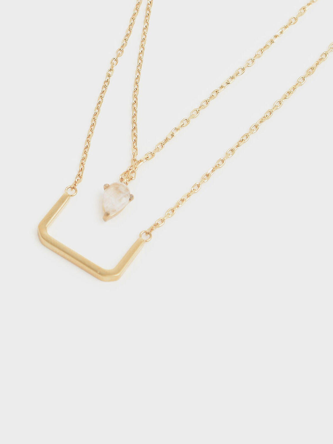 Moonstone Layered Matinee Necklace, Gold, hi-res