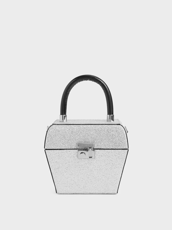 Glitter Patent Sculptural Top Handle Bag, Silver, hi-res