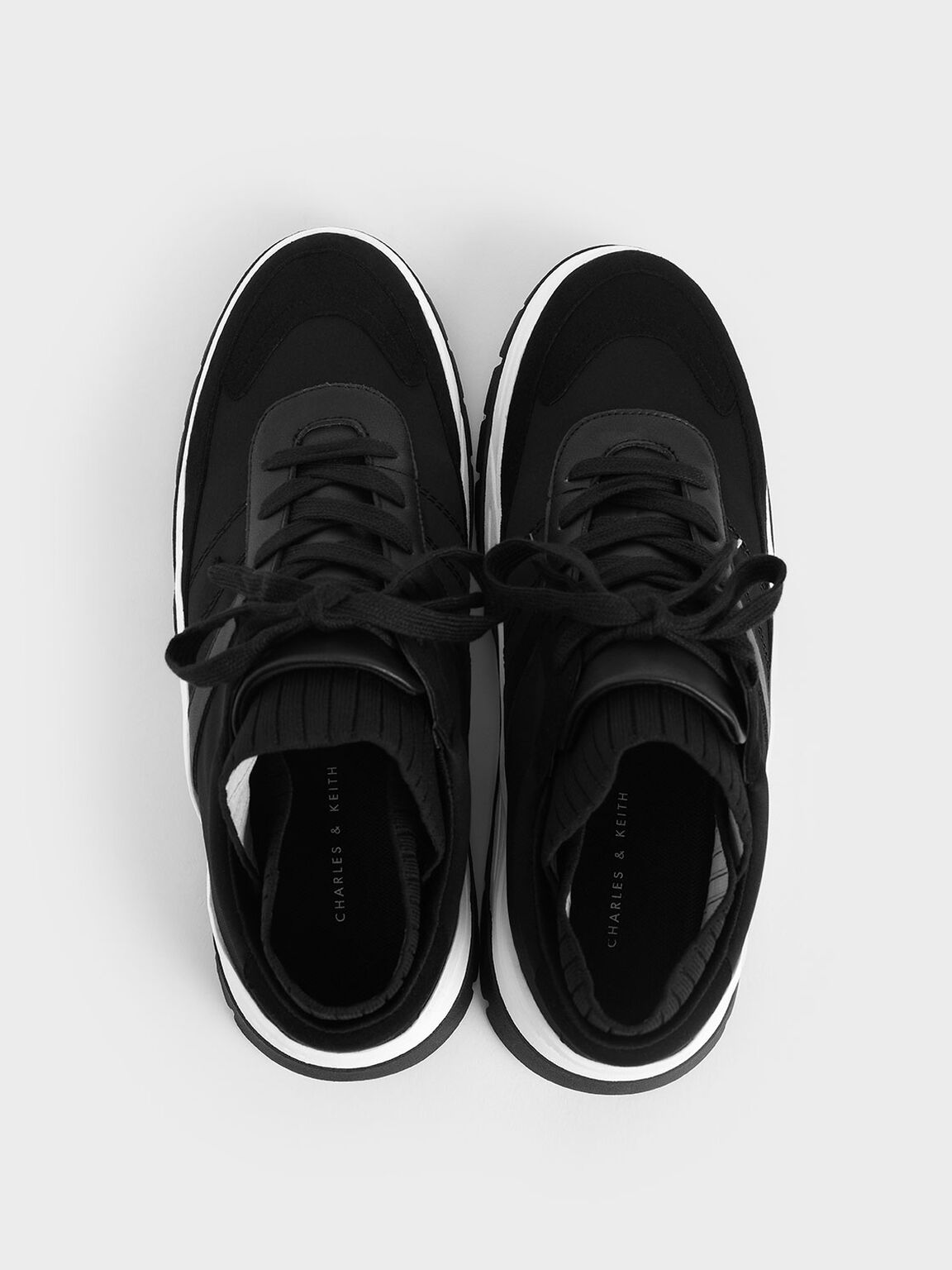 Two-Tone Chunky Trainers, Black, hi-res