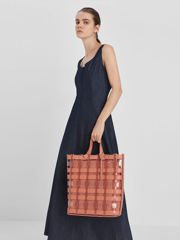 See-Through Woven Tote Bag, Clay