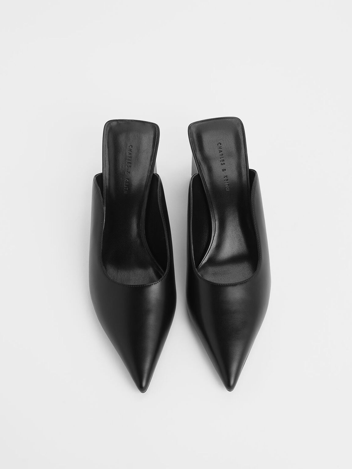 Pointed Toe Wedge Heel Mules, Black, hi-res