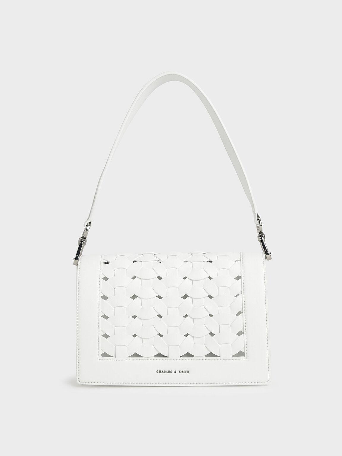 Woven Shoulder Bag, White, hi-res