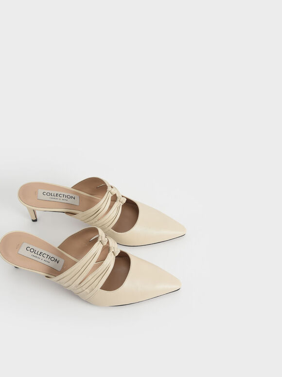 Leather Knot Detail Heeled Mules, Cream, hi-res