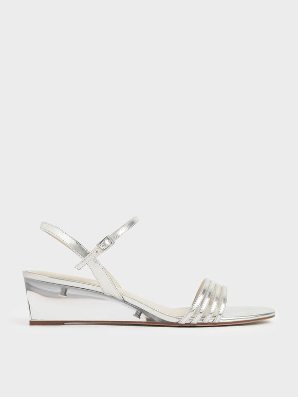 Metallic Ankle Strap Clear Wedges, Silver, hi-res