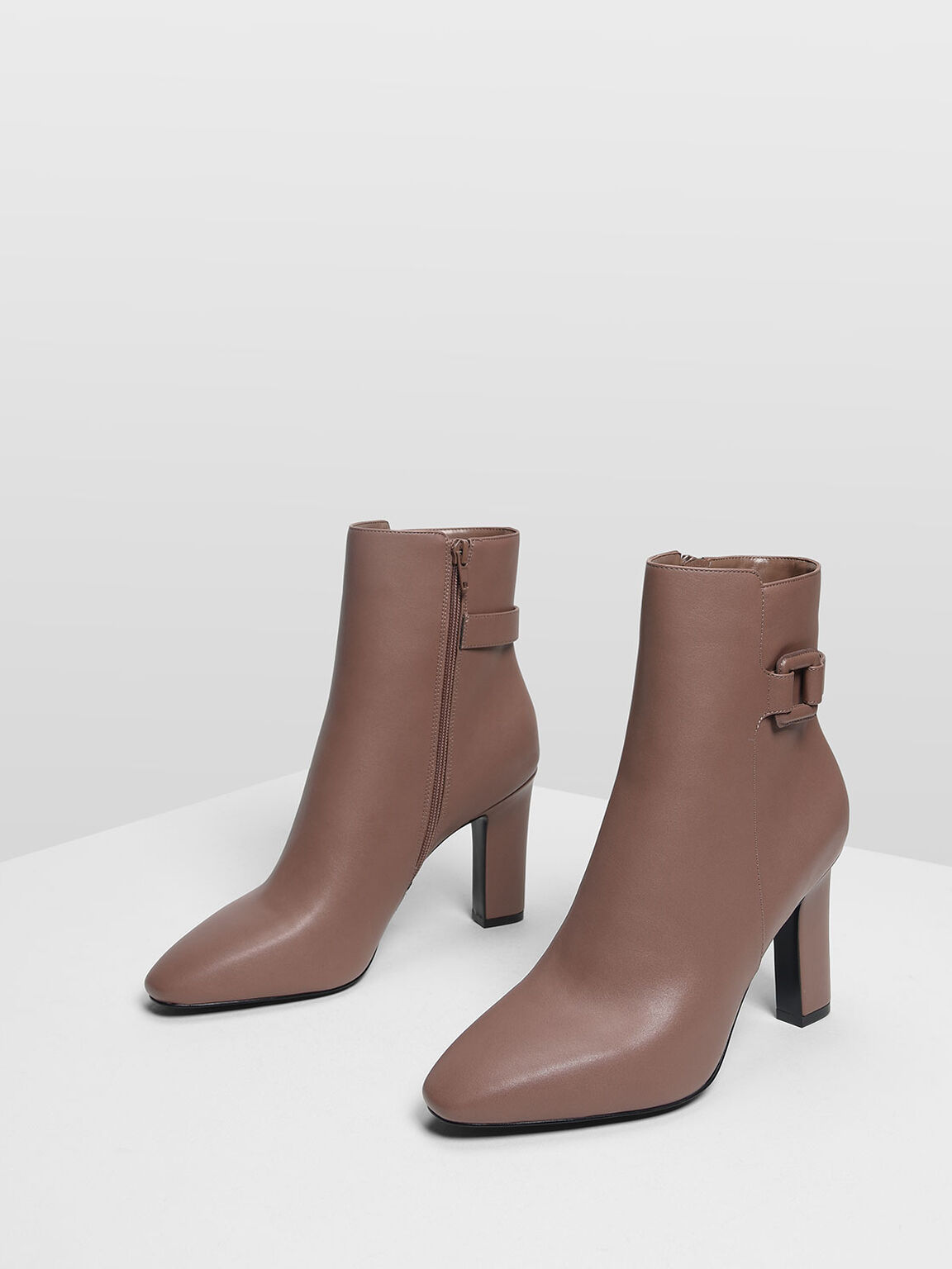 Wrapped Buckle Detail Calf Boots, Mauve, hi-res